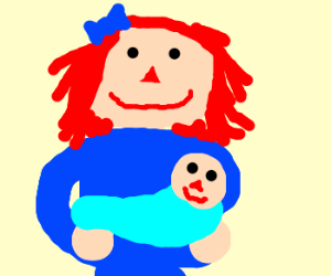 raggedy ann gets surprise positive, baby