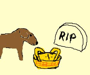 Picnicking dog barks at gravestone