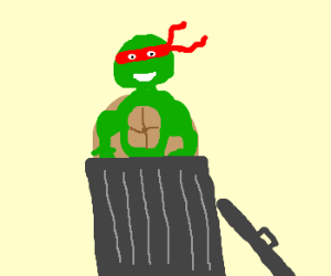 TMNT in trash can