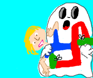 Person becomes deformed, held by ghost