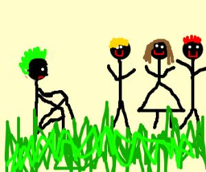 green mohawk man is anti-social