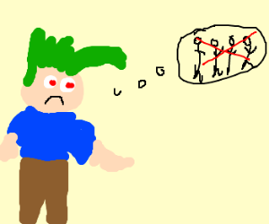 Sad man with green hair is lonely