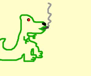 Dinosaur smokes marijuana