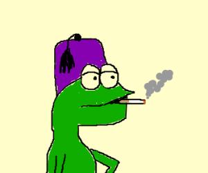Lizard w/ shriner hat smokinga cigarette