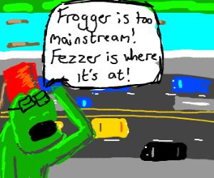Hipster Frogger adores his fez