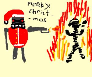 <3 Attack Santa gives out presents