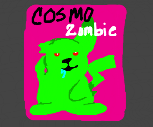 undead pikachu posing for cosmo