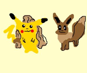 Pikachu With Long Hair +Eevee