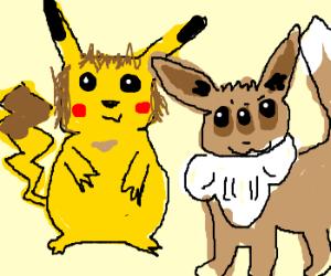Pikachu long hair and deformed Eevee