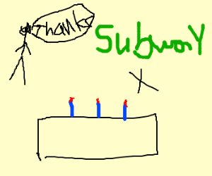 Getting a Subway birthday 'cake'