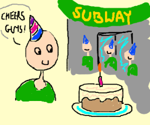 birthday man thanks Subway for cake