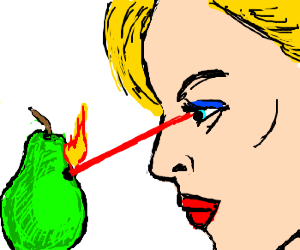 Female unleashes laser vision on a pear