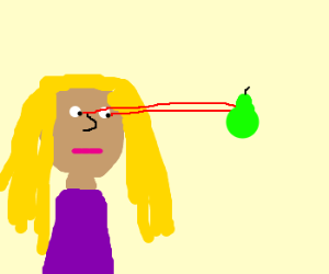 Blond lady uses laser eyes on pear