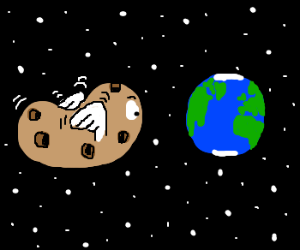 A flying potato with holes looking Earth