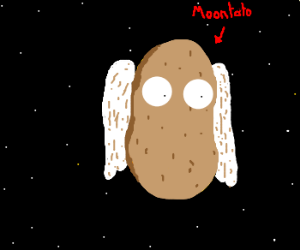 Moon is Potato with Eyeballs and Wings
