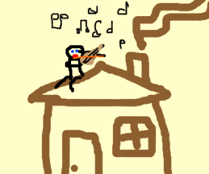 Playing violin on the roof