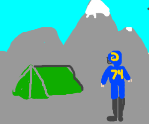 Rams camping on mountain.