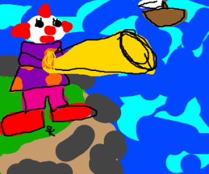 Giant clown acts as lighthouse