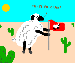 Giant mutant sheep conquers desert