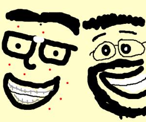 Two geeks cheering