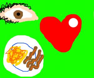 i love scrambled eggs and bacon