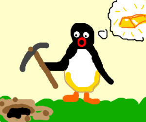 pingu's first movie: gold rush on grass!