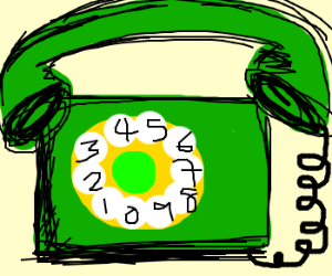 An oddly square old-fashioned phone.