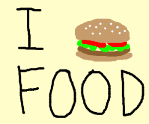 I <3 Food (hamburger in place of <3)