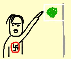 Sieg! Hitler salutes nazi broccli flag