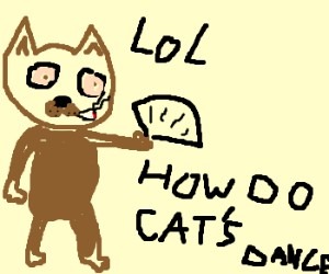 Stoned gangster cat with dance-card