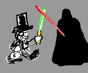 Monopoly man fights Darth Vader!