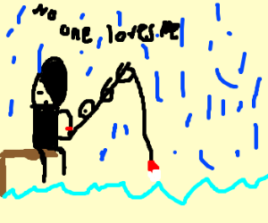 Emo teen fishing in the rain