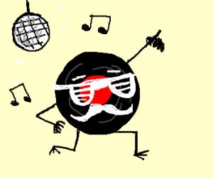 A record with a moustache dances