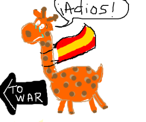 Spanish Giraffe Goes To War with Flag.