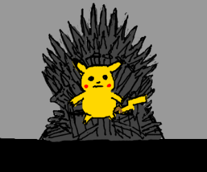 Pikachu sits on the Iron Throne.