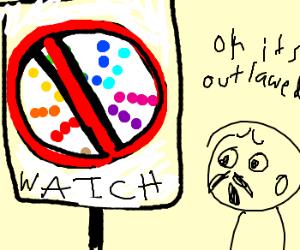 forbidden color wheel ahead sign