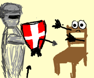 Knight deflects arrows at bored chair.