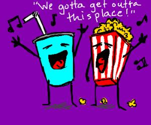 Movie theatre snacks sing escape song
