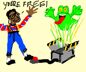 Urkel lets ghost out of Ghst Bstr's trap