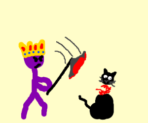 angry purple king decapitates a cat