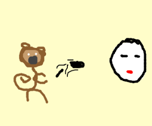 monkey throws poop at mime