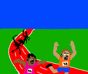 Aliens chasing Track Runners