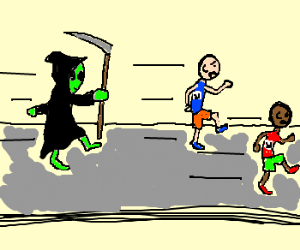 Track runners chased by alien reapers