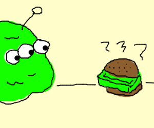 Alien blob stares at green brickburger