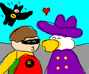 Robin cheqts on Batman w/ Darkwing Duck