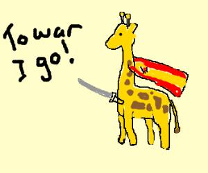 Giraffe wears SpainFlagCape leavin 4 war