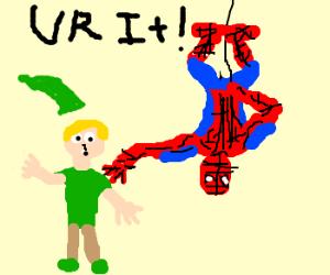 Spiderman plays tag with a Xmas Elf