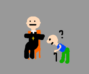 Old man searches priest on chair