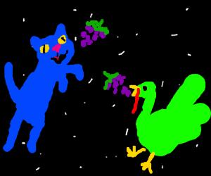 Bluecat w/greenturky eat grapes in space