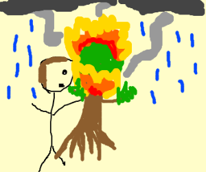 Man holds flaming tree in rain
